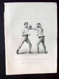 Badminton Library 1893 Antique Boxing Print. Left-Handed Cross-Counter